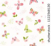 butterfly pattern with flowers... | Shutterstock .eps vector #1122568130