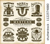 vintage western labels and... | Shutterstock . vector #1122574880
