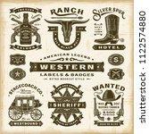 vintage western labels and... | Shutterstock . vector #1122574880