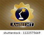 gold badge or emblem with desk ... | Shutterstock .eps vector #1122575669