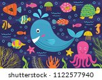 marine animals in the sea   ... | Shutterstock .eps vector #1122577940