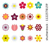 flower flat color icon. objects ...   Shutterstock . vector #1122578159