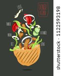 doner kebab   grilled meat ... | Shutterstock .eps vector #1122593198
