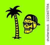 palm tree   skull with cap... | Shutterstock .eps vector #1122607556
