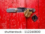 Red  Rustic Door With Closed...