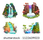 waterfalls set. cartoon... | Shutterstock .eps vector #1122639023