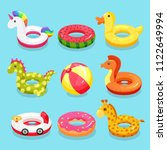 inflatable swimming ring set.... | Shutterstock .eps vector #1122649994