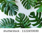 big green tropical leaves on... | Shutterstock . vector #1122653030