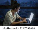 overtime concept. woman is...   Shutterstock . vector #1122654626