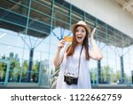 young shocked traveler tourist... | Shutterstock . vector #1122662759