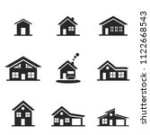 house icon set. line style icon ...
