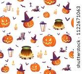 seamless halloween pattern with ... | Shutterstock .eps vector #1122671063