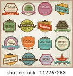 vintage labels and ribbon retro ... | Shutterstock .eps vector #112267283