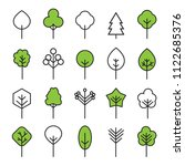 set of outline trees icons.... | Shutterstock .eps vector #1122685376