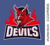 devil mascot. logo for sport... | Shutterstock .eps vector #1122690836
