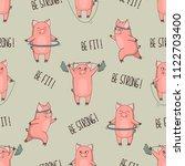 cute cartoon pigs exercising... | Shutterstock .eps vector #1122703400