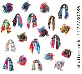 different chiffon scarves... | Shutterstock . vector #1122730286