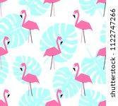 seamless flamingo pattern.... | Shutterstock .eps vector #1122747266