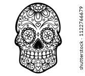 sugar skull isolated on white...   Shutterstock .eps vector #1122766679