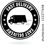fast delivery sign. round black ... | Shutterstock .eps vector #112277648