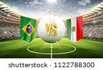 Stock photo brazil vs mexico soccer concept white soccer ball with the flag in the stadium d render 1122788300