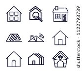 set of 9 home outline icons... | Shutterstock .eps vector #1122793739