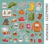 hand drawn set of cute autumn... | Shutterstock .eps vector #1122795983