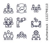 set of 9 group outline icons... | Shutterstock .eps vector #1122798113