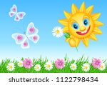 funny summer sun with daisy and ... | Shutterstock . vector #1122798434