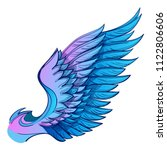 wing with colorful feathers.... | Shutterstock .eps vector #1122806606