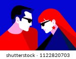 couple in love  two lovers  man ... | Shutterstock .eps vector #1122820703