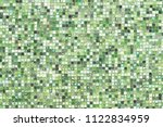 green mosaic wall background... | Shutterstock . vector #1122834959