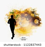 fit young male jogger. healthy... | Shutterstock .eps vector #1122837443