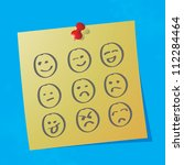 hand drawn emoticons on sticky... | Shutterstock .eps vector #112284464