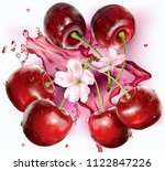 cherries and flower on... | Shutterstock .eps vector #1122847226