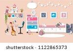 interior of a cute girl's... | Shutterstock .eps vector #1122865373