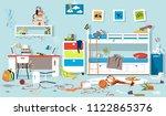 interior of messy kids bedroom  ...   Shutterstock .eps vector #1122865376