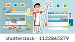 little boy with a mop and... | Shutterstock .eps vector #1122865379