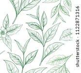 tea branch seamless pattern.... | Shutterstock .eps vector #1122871316