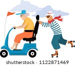 elderly woman driving a... | Shutterstock .eps vector #1122871469