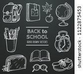 back to school vector chalk... | Shutterstock .eps vector #1122875453