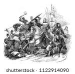 battle of bouvines  vintage... | Shutterstock . vector #1122914090