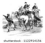 travel in the desert by horace... | Shutterstock . vector #1122914156