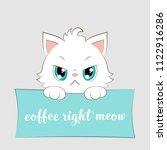 cute cartoon white kitten with... | Shutterstock .eps vector #1122916286