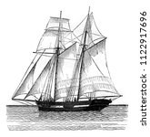 commercial sailboat sailing ... | Shutterstock . vector #1122917696