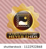 golden badge with picture icon ... | Shutterstock .eps vector #1122922868