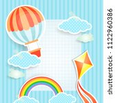 rainbow and clouds on dark blue ... | Shutterstock .eps vector #1122960386