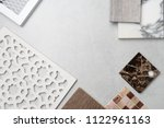 samples of material  wood   on... | Shutterstock . vector #1122961163
