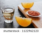 mezcal shot with chili salt and ... | Shutterstock . vector #1122962123