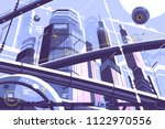 city metropolis of future with... | Shutterstock .eps vector #1122970556
